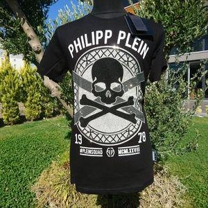 PHILIPP PLEIN MEN T-SHIRT NWT CASUAL %100 COTTON